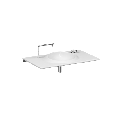 İstanbul Vanity basin, 100 cm, with two tap holes, no overflow hole, white