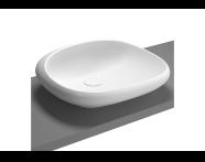 4520B403-0016 - Kare çanak lavabo, 50 cm Armatür deliksiz, su taşma deliksiz, sifon dahil