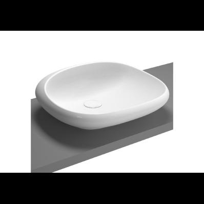Kare çanak lavabo, 50 cm Armatür deliksiz, su taşma deliksiz, sifon dahil