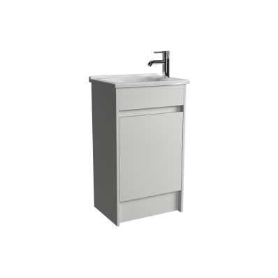 S50 Compact Floor-Standing Washbasin Unit Including Basin, 1-Hole, 50 cm, High Gloss White