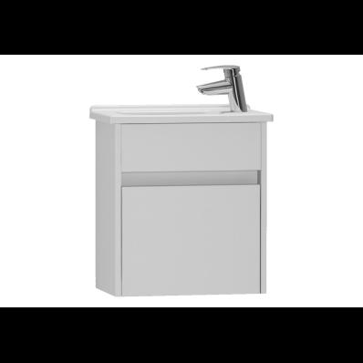 S50 + Dar Lavabo Dolabı 45 cm,  Parlak Beyaz, Sol