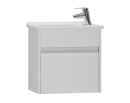 53027 - S50 + Narrow Washbasin Unit, 50 cm, White High Gloss, Left