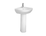 5306L003-0999 - S50 Compact Corner Basin, 40cm with Middle Tap Hole, with Side Holes