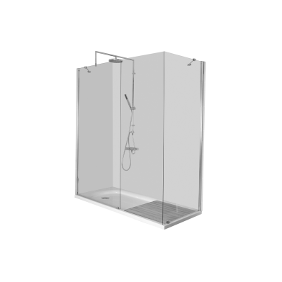Kimera Compact Shower Unit 160x80 cm, U Wall, without Door, Long Cornere Mixer