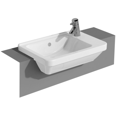 S50 Compact Square, Semi-Recessed Basin, 55 cm