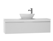 53581 - System Fit Washbasin Unit, 120x34x37 cm, Middle, High Gloss White