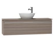 53583 - System Fit Washbasin Unit, 120x34x37 cm, Middle, Grey Oak