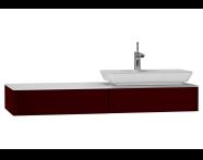 54590 - T4 Short Counter Unit 130 cm, Matte Burgundy