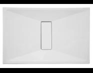 54610010000 - Slim 120x80 cm Dikdörtgen Sıfır Zemin, Krom Gider Kapağı, Sifon