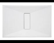 54730010000 - Slim 140x75 cm Dikdörtgen Sıfır Zemin, Krom Gider Kapağı, Sifon