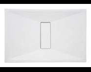 54760010000 - Slim 140x90 cm Dikdörtgen Sıfır Zemin, Krom Gider Kapağı, Sifon