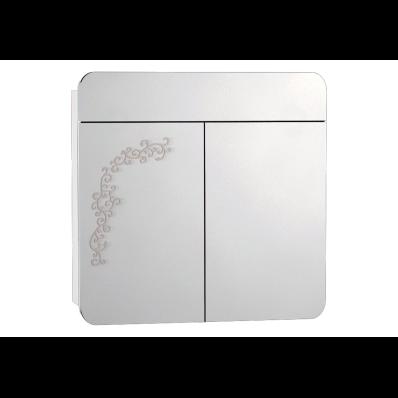 Gala Classic Desenli Aydınlatmalı Dolaplı Ayna 80 cm Parlak Beyaz