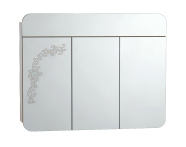55172 - Gala Classic Illuminated Mirror with Pattern Cabinet 100 cm White High Gloss