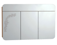 55177 - Gala Classic Illuminated Mirror with Pattern Cabinet 120 cm Beige High Gloss