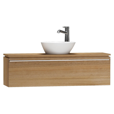 System Fit Washbasin Unit, 120x34x37 cm, Middle, Waved Natural Wood