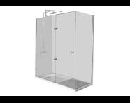 55900014000 - Kimera Kompakt Duş Ünitesi 180x75 cm, U Duvar, Kapılı, Batarya Uzun Kenarda,Ayak