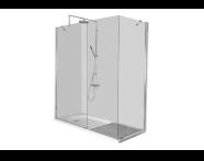 55930007000 - Kimera Kompakt Duş Ünitesi 150x75 cm, U Duvar, Kapısız, Batarya Uzun Kenarda
