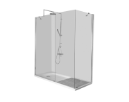 55930025000 - Kimera Compact Shower Unit 150x75 cm, L Wall, without Door,  Short Corner Mixer