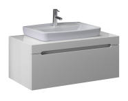 56082 - Folda Washbasin Unit 80 cm (White High Gloss) + Concept 100 Basin