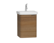 56111 - Nest Single Doorı Washbasin Unit 45 cm, Waved Natural Wood, Left