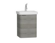 56115 - Nest Single Doorı Washbasin Unit 45 cm, Grey Natural Oak Right