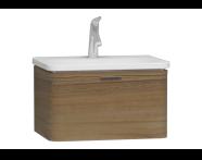 56135 - Nest Trendy Lavabo dolabı, tek çekmeceli, 60 cm, Hareli Doğal Ahşap