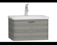 56136 - Nest Trendy Lavabo dolabı, tek çekmeceli, 60 cm, Gri Dokulu Ahşap