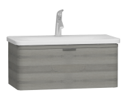 56139 - Nest Trendy 1 Drawer Washbasin Unit 80 cm Grey Natural Oak