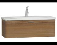56141 - Nest Trendy Lavabo dolabı, tek çekmeceli, 100 cm, Hareli Doğal Ahşap
