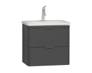 56143 - Nest Trendy 2 Drawer Washbasin Unit 60 cm Anthracite High Gloss