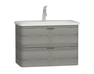 56148 - Nest Trendy 2 Drawer Washbasin Unit 80 cm Grey Natural Oak