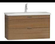 56150 - Nest Trendy Lavabo dolabı, 2 çekmeceli, 100 cm, Hareli Doğal Ahşap
