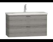 56151 - Nest Trendy Lavabo dolabı, 2 çekmeceli, 100 cm, Gri Dokulu Ahşap