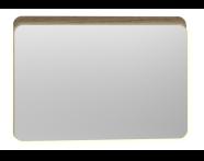 56166 - Nest Trendy Ledli Duz Ayna 100 cm,  Hareli Doğal Ahşap