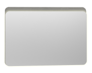 56167 - Nest Trendy Ledli Duz Ayna 100 cm,  Gri Dokulu Ahşap