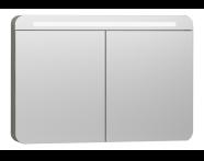 56179 - Nest Trendy Dolaplı Ayna 100 cm,  Gri Dokulu Ahşap