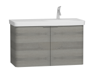 56202 - Nest 2 Doors Washbasin Unit 100 cm, Grey Natural Wood