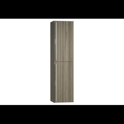 System Infinit Tall Unit, 2 Doors, 1 Fixed Shelf, 4 Modular Glass Shelves, 35 cm, High Gloss Grey Birch, Right