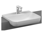 5637B003-0001 - Sento Semi-recessed basin, 55 cm, with one tap hole, with overflow hole, white