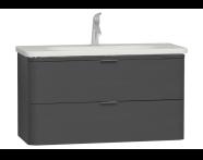 56414 - Nest Trendy Washbasin Unit, 2 Drawers, without Basin, 100 cm, High Gloss White