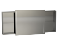 56486 - Memoria Illuminated Mirror Cabinet, with Sliding Door, 150 cm, Grey High Gloss