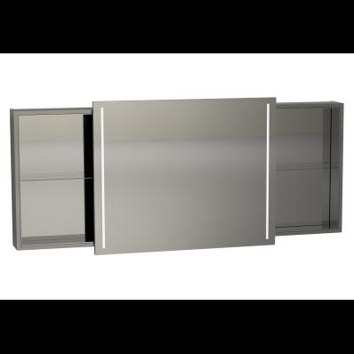 memoria illuminated mirror cabinet with sliding door 150 cm grey