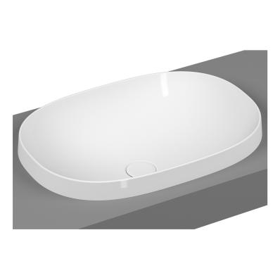 Frame Oval Countertop Washbasin, Matte White