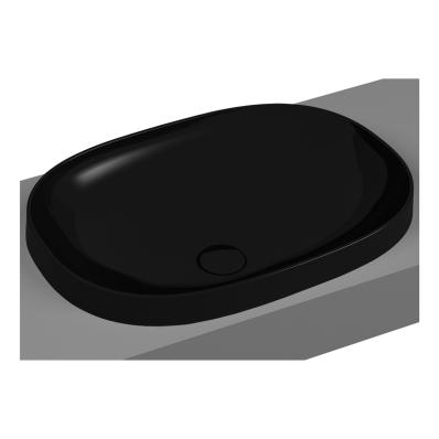 Frame Tezgah Üstü Oval Lavabo, Siyah
