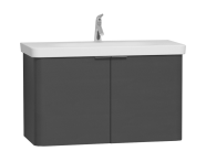 56543 - Nest Asymmetrical Washbasin Unit, with Doors, without Basin, 100 cm, High Gloss White