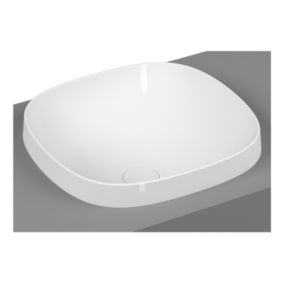 Frame Square countertop basin, 41 cm, without tap hole, without overflow hole, matte white