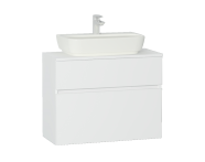 56591 - Shift+ Washbasin Unit, 2 Drawers, 80x35x62 cm, High Gloss White