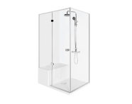 56600004000 - Roomy Compact Shower Unit 120x90 cm Left, Flat, U Wall, Shower Column