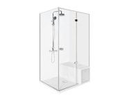 56600011000 - Roomy Compact Shower Unit 120x90 cm Left, Flat, U Wall, Drawer, Shower Column
