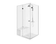 56600014000 - Roomy Compact Shower Unit 120x90 cm Left, Flat, U Wall, Drawer, Shower Column